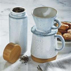 Stoneware and Bamboo Barista Mug and Pour Over Set 1